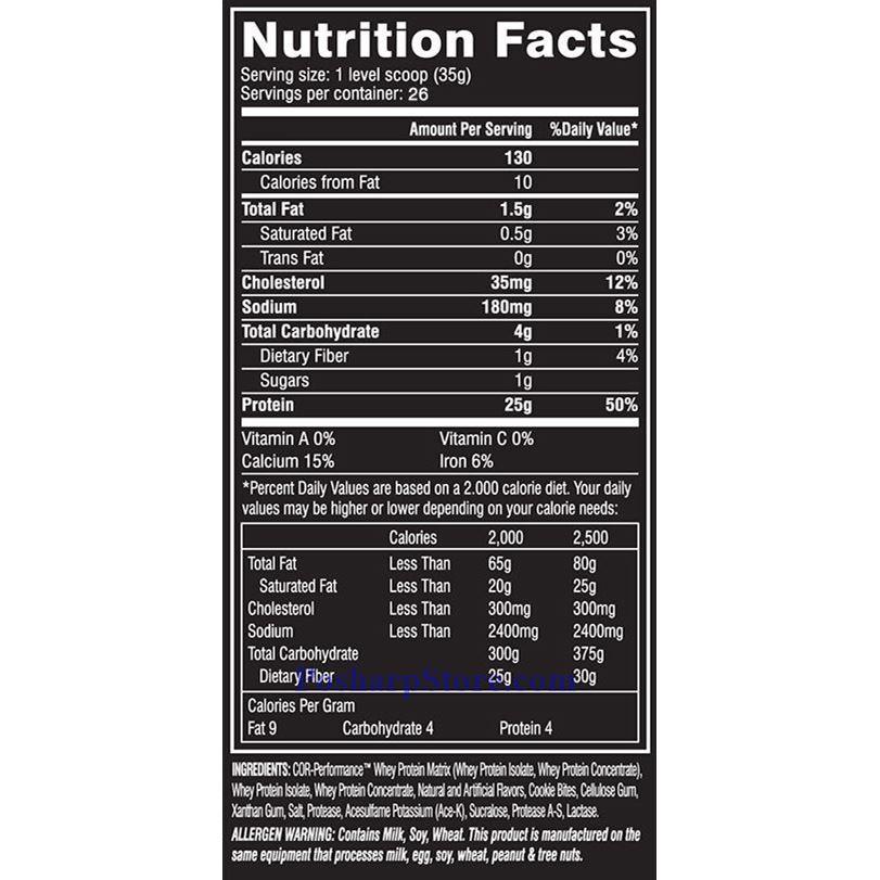 分类图片 Cellucor 牌COR-Performance系列乳清蛋白粉 巧克力饼干味 910克 26次用量