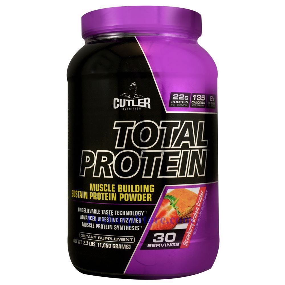 Cutler Total Protein Muscle Building Sustain Protein Powder Strawberry Graham Cracker 2.3 lbs 30
