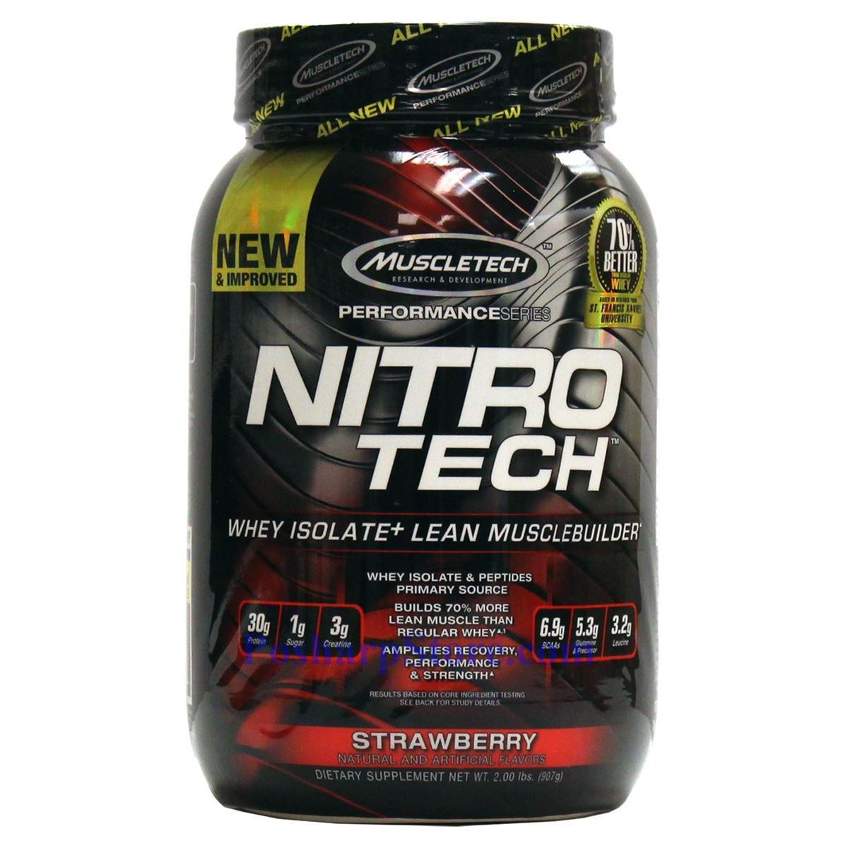 分类图片 Muscletech牌Performance优品系列高性能正氮增肌分离蛋白粉 草莓味 907克 21次用量