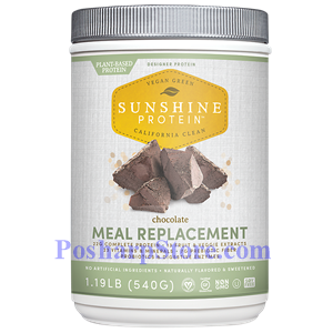 Picture of Designer Protein Sunshine Protein Plant Based Meal Replacement Chocolate Flavor 1.19 lbs 10 Servings