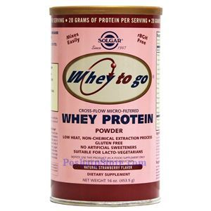 Picture of Solgar Whey To Go Whey Protein Powder Natural Strawberry Flavor 1 lb 13 Servings