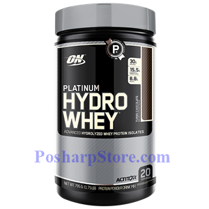 Picture of Optimum Nutrition Platinum Hydrowhey Hydrolyzed Whey Protein Isolates Chocolate 1.75 Lb 20 Servings
