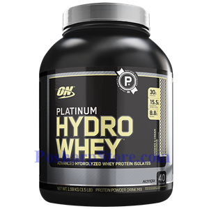 Picture of Optimum Nutrition Platinum Hydrowhey Hydrolyzed Whey Protein Isolates Cookies and Cream 3.5 Lb 40 Servings