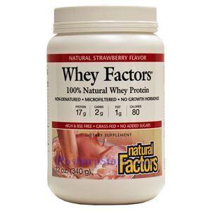 图片 Natural Factors牌Whey Factors乳清蛋白系列100%天然乳清蛋白粉 草莓味 340克 17份用量